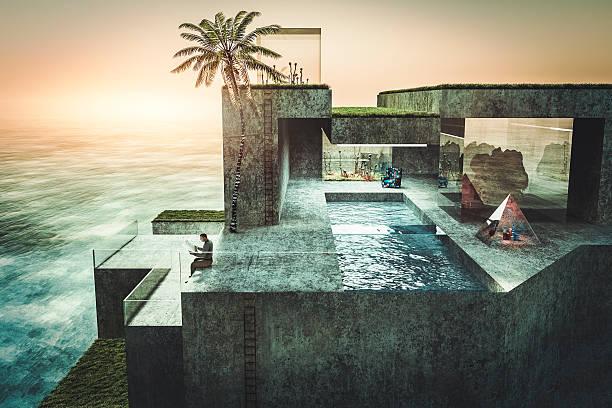 einsam reiche mann lesen zeitung in seinem urlaub villa - glasskulpturen stock-fotos und bilder