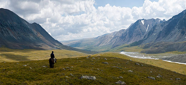 "Lonely Rider at Altay Mountains ""The Altai Tavan Bogd Mountain stretches over 2000 km through Mongolia, Russia and China. Mongolia's highest peaks (4374 m), longest glaciers (23 km) are located in the Altai Tavan Bogd National Park."" kazakhstan stock pictures, royalty-free photos & images"