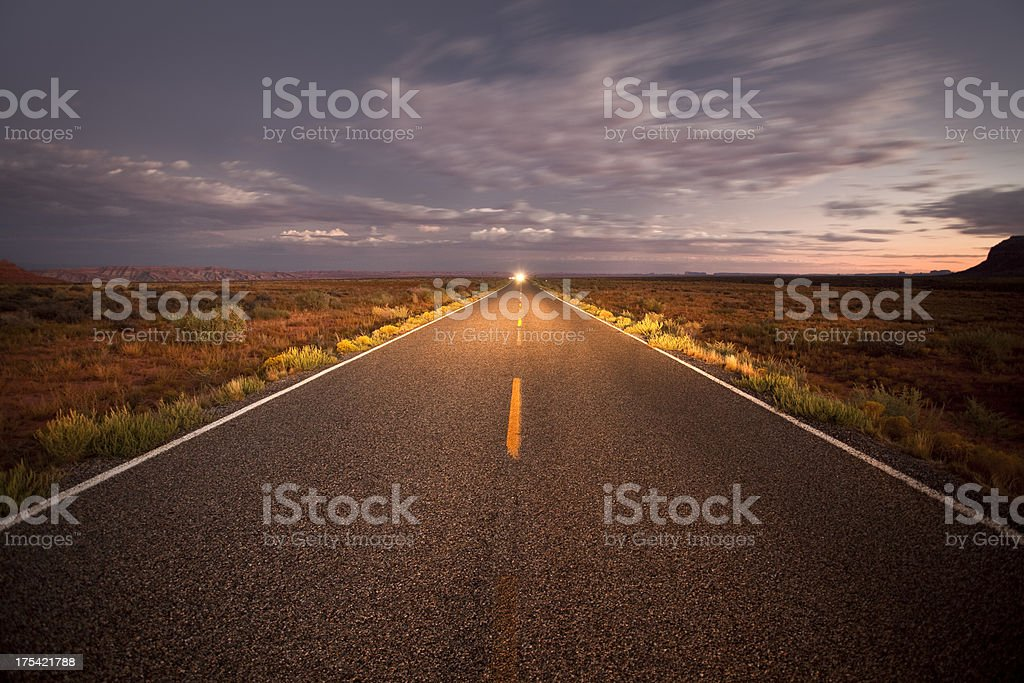 Lonely road at sunset royalty-free stock photo