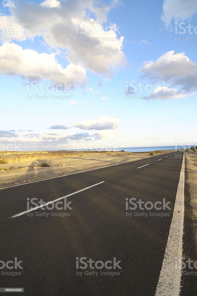 Lonely Road in the Desert royalty-free stock photo