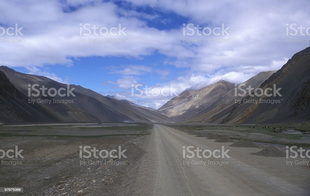 Lonely road in Tibet royalty-free stock photo
