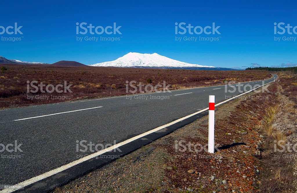 Lonely Road, Tongariro National Park, New Zealand stock photo