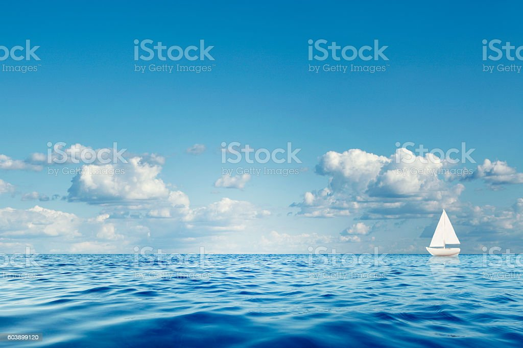 Lonely Sailboat stock photo