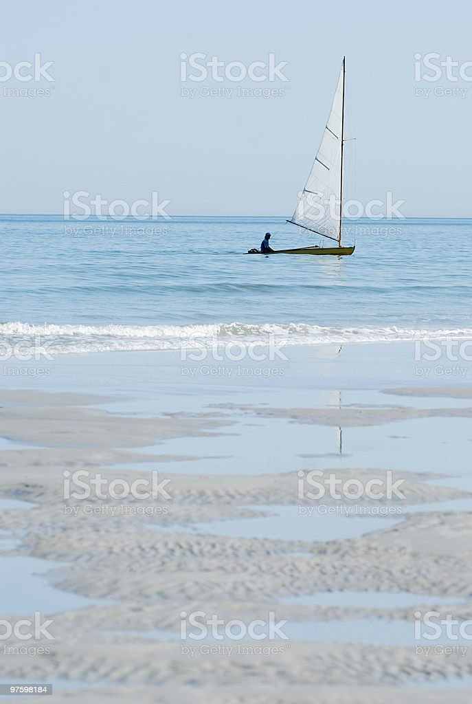Lonely sailboat royalty-free stock photo