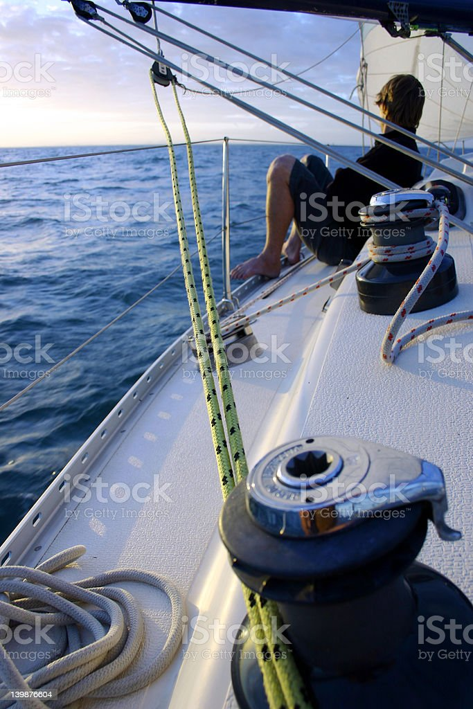 Lonely sailor on the Blue Ocean stock photo
