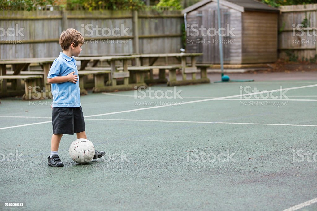 Lonely School Yard Soccer stock photo