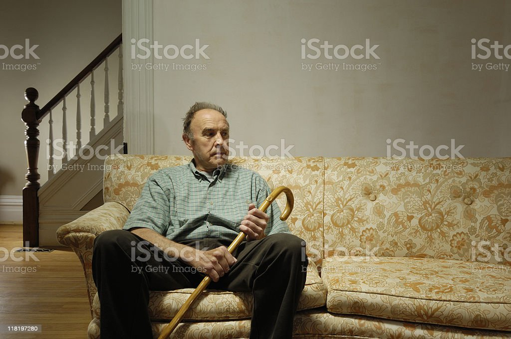 Lonely senior at home royalty-free stock photo
