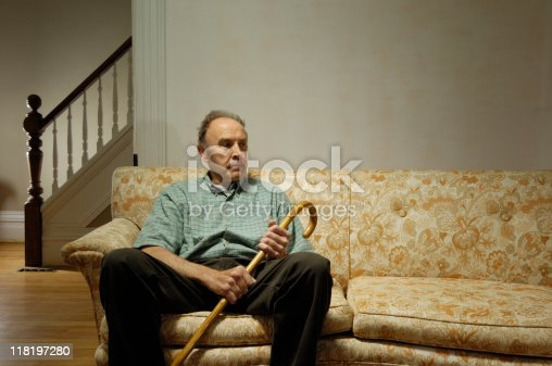 istock Lonely senior at home 118197280