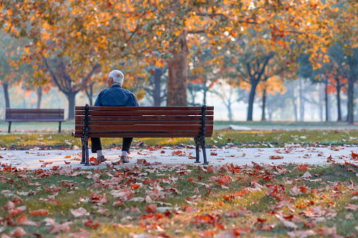 Lonely Senior Old Man Sitting on Bench in Park