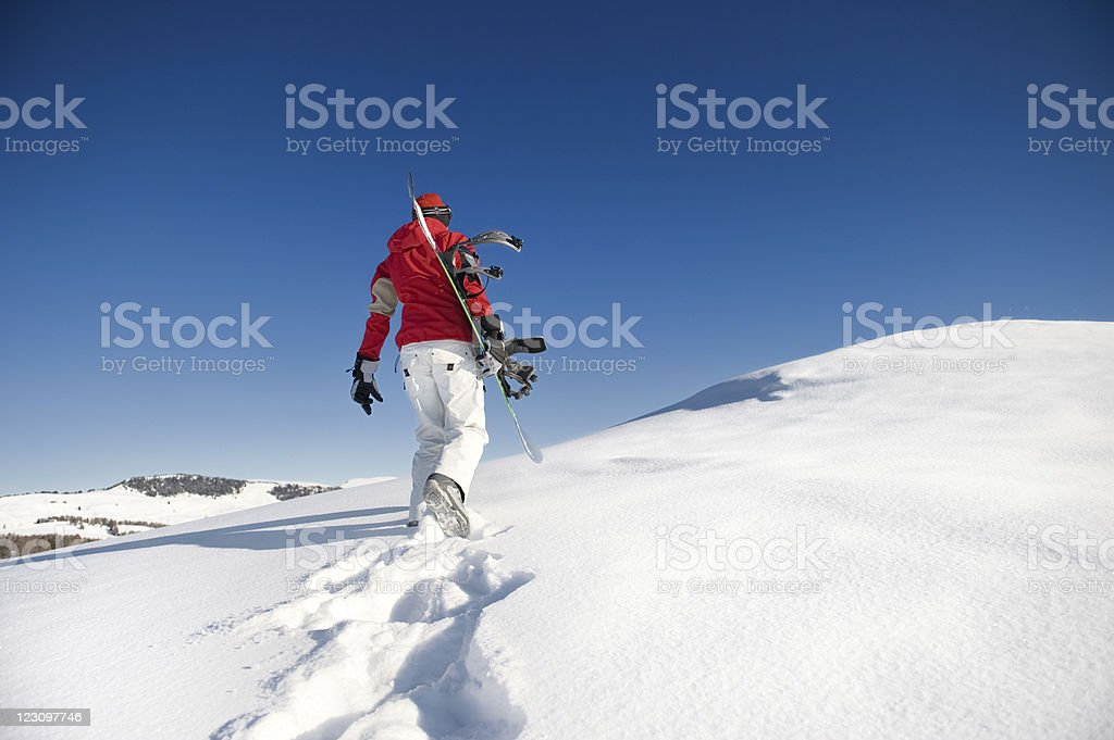 lonely snowboarder royalty-free stock photo