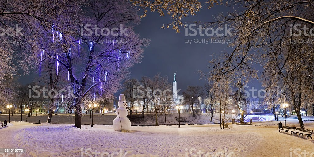 Lonely snowman stock photo