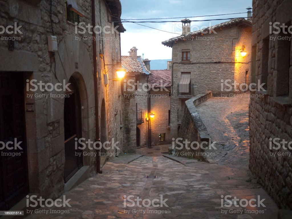 Lonely streets in medieval village stock photo