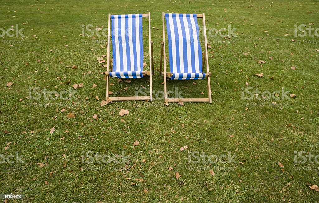 lonely striped chairs royalty-free stock photo
