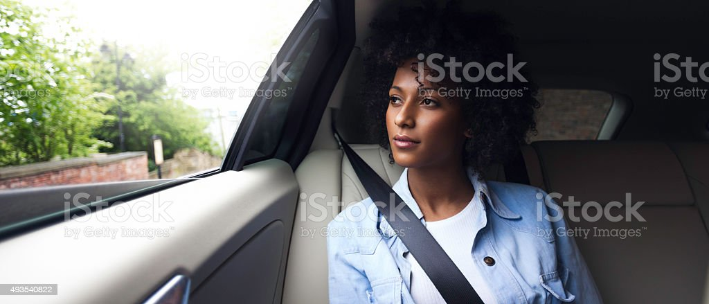 Lonely Taxi Journey stock photo
