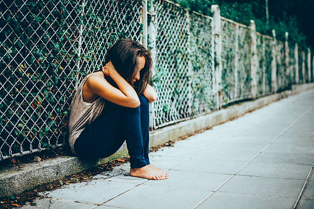 Lonely Teenager Depression stock photo
