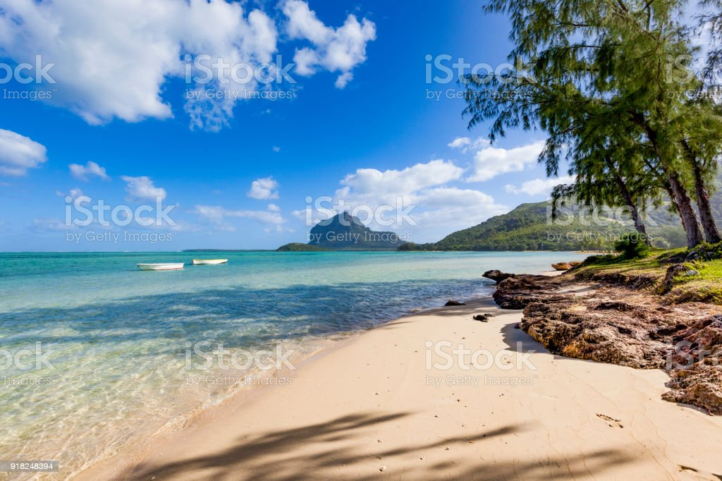 lonely tropical beach on mauritius island, africa stock photo