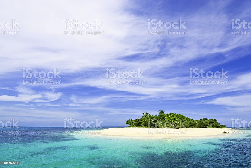 Lonely tropical island in the Caribbean stok fotoğrafı