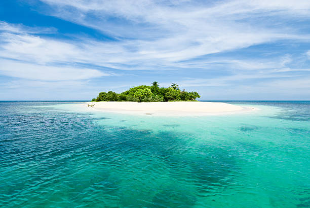 Lonely tropical island in the Caribbean stock photo