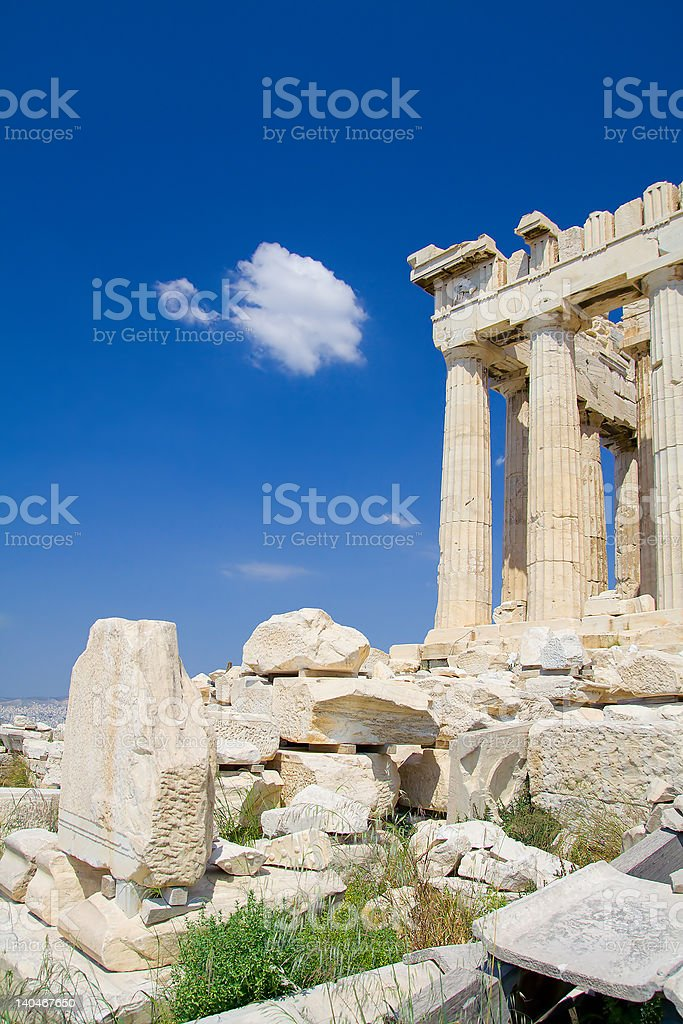Lonely visitor to the Acropolis stock photo