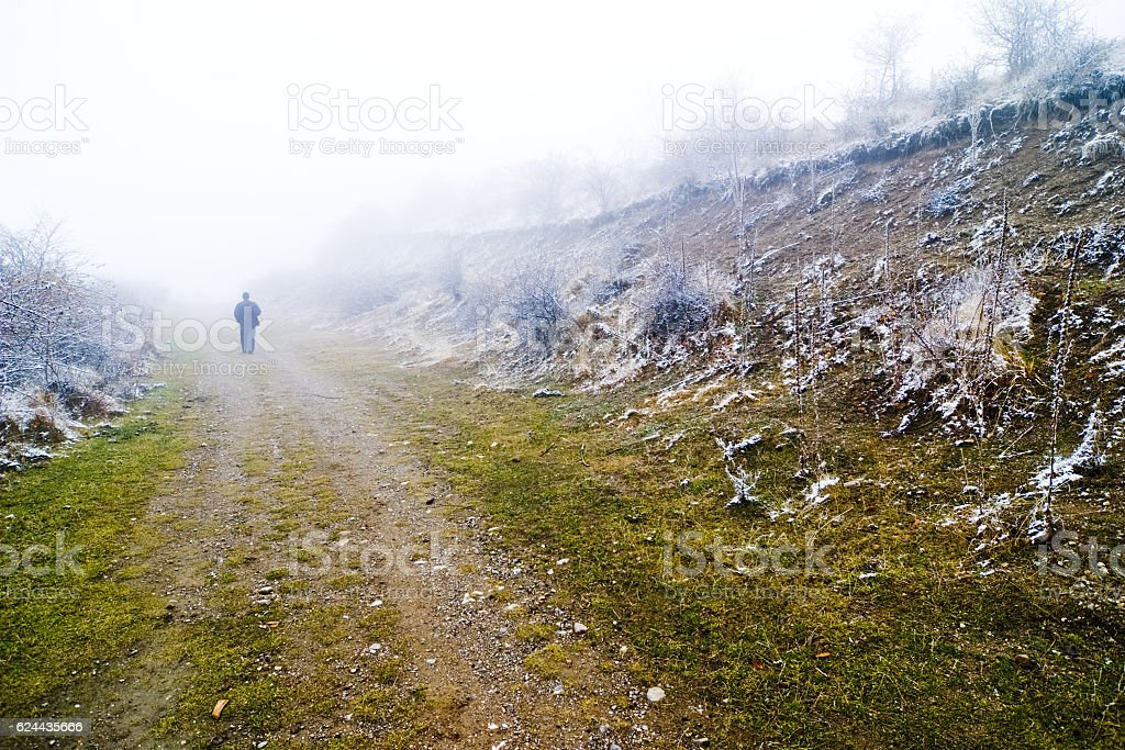 Lonely walk stock photo