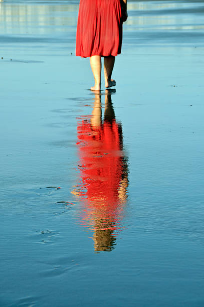 Lonely Walker Reflected on Wet Sand stock photo