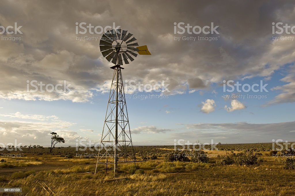 Lonely Windmill in the outback of South Australia royalty-free stock photo