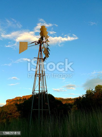 A lonely windpump in the veld of the Orange Free State in South Africa