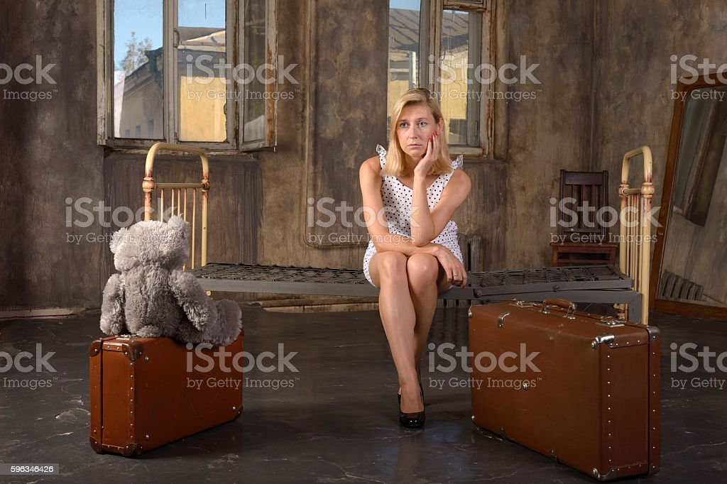 Lonely woman in despair,retro style royalty-free stock photo