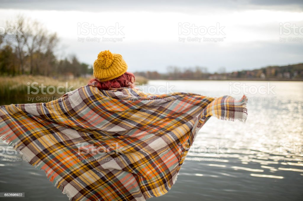 Lonely woman on the dock . stock photo