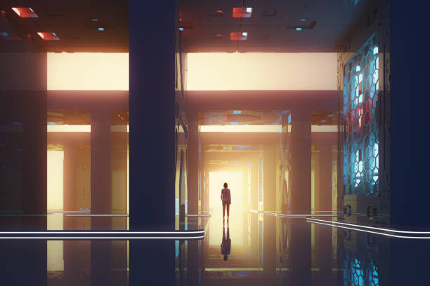 Lonely woman standing in futuristic street stock photo