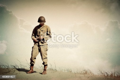 istock Lonely WWII Soldier Portrait - Dreaming of Home 453691627