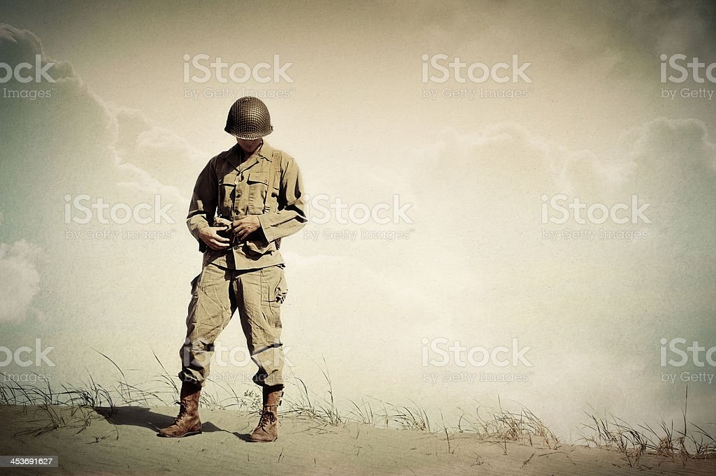 Lonely WWII Soldier Portrait - Dreaming of Home stock photo