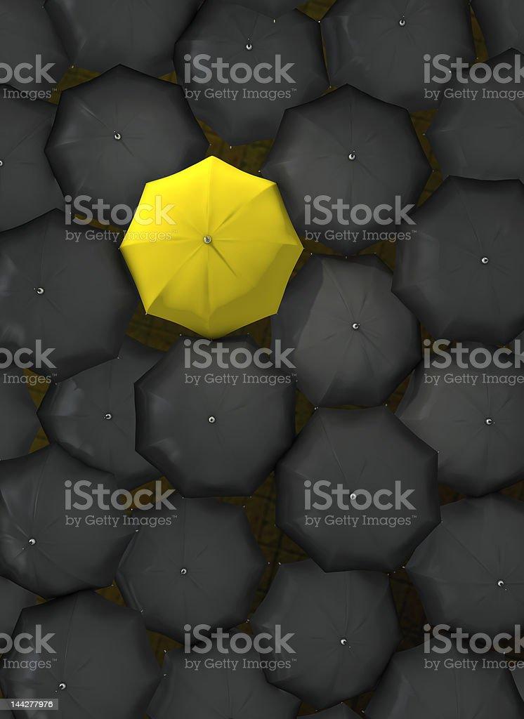 Lonely yellow umbrella stock photo