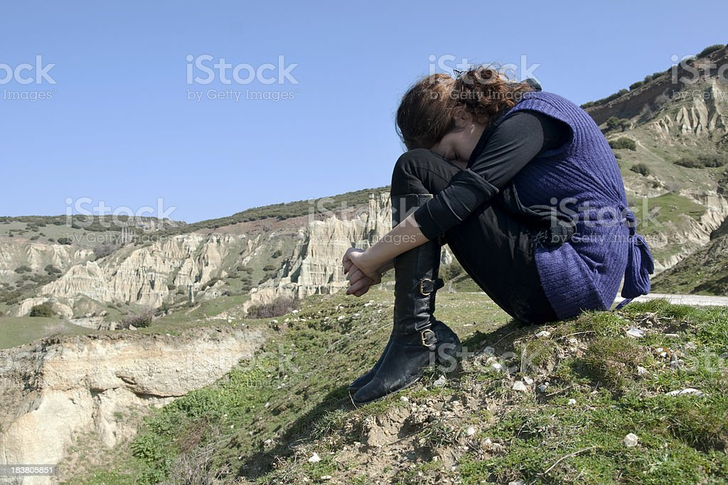 lonely young girl stock photo
