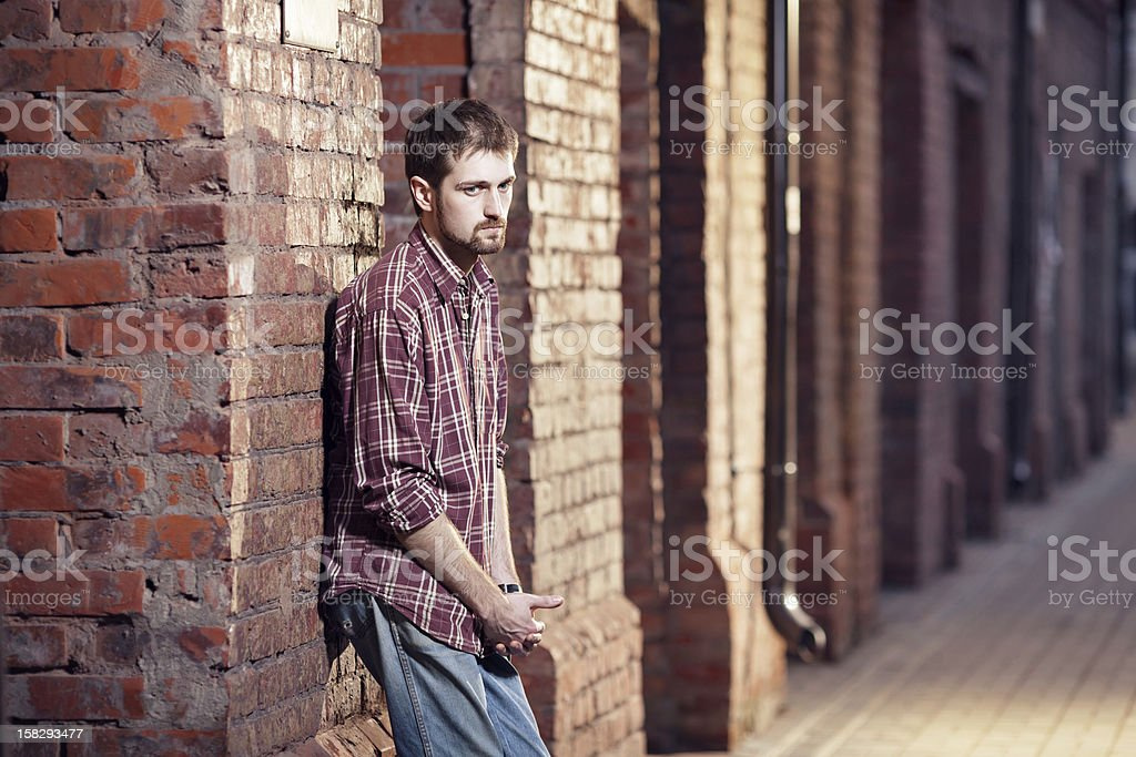 Lonely young man stock photo