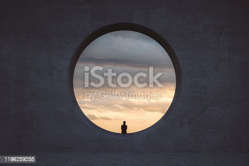 Lonely young woman looking through concrete window. This is entirely 3D generated image.