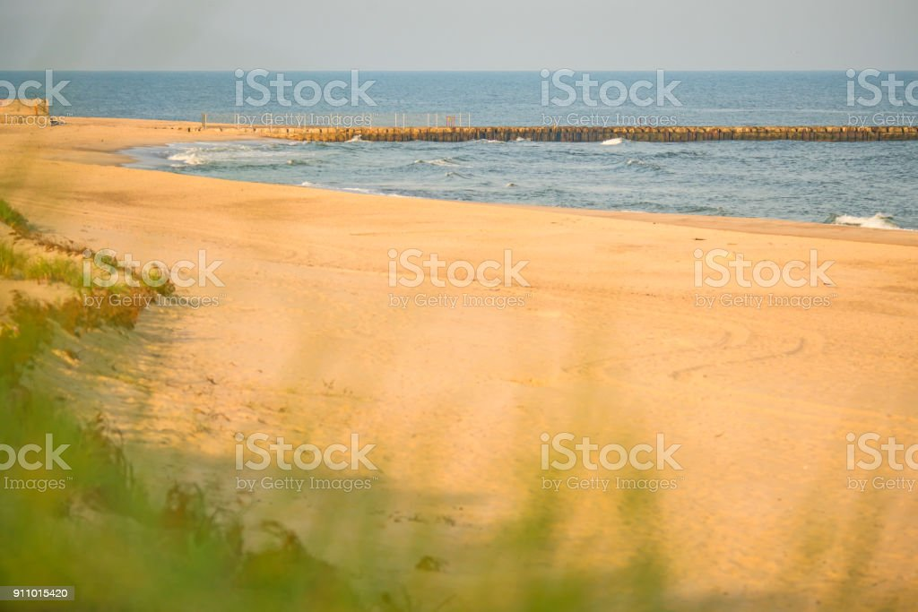 lonesome beach of the Baltic Sea in Poland, Ustka stock photo