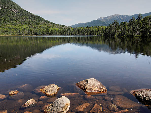 Lonesome Lake Lonesome Lake in Franconia Notch, New Hampshire.  white mountains new hampshire stock pictures, royalty-free photos & images