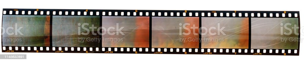 long 35mm film strip with empty film cells isolated on white background 35mm film strip or film material type 135 Abstract Stock Photo