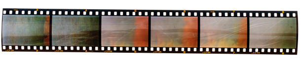 long 35mm film strip with empty film cells isolated on white background 35mm film strip or film material type 135 undressing stock pictures, royalty-free photos & images