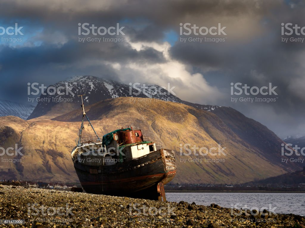 Long abandoned boat, Corpach. stock photo
