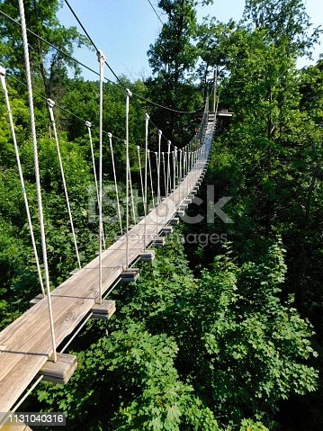 One of the rope bridges on the zip-line course, at Refreshing Mountain Camp, Lancaster, Pennsylvania