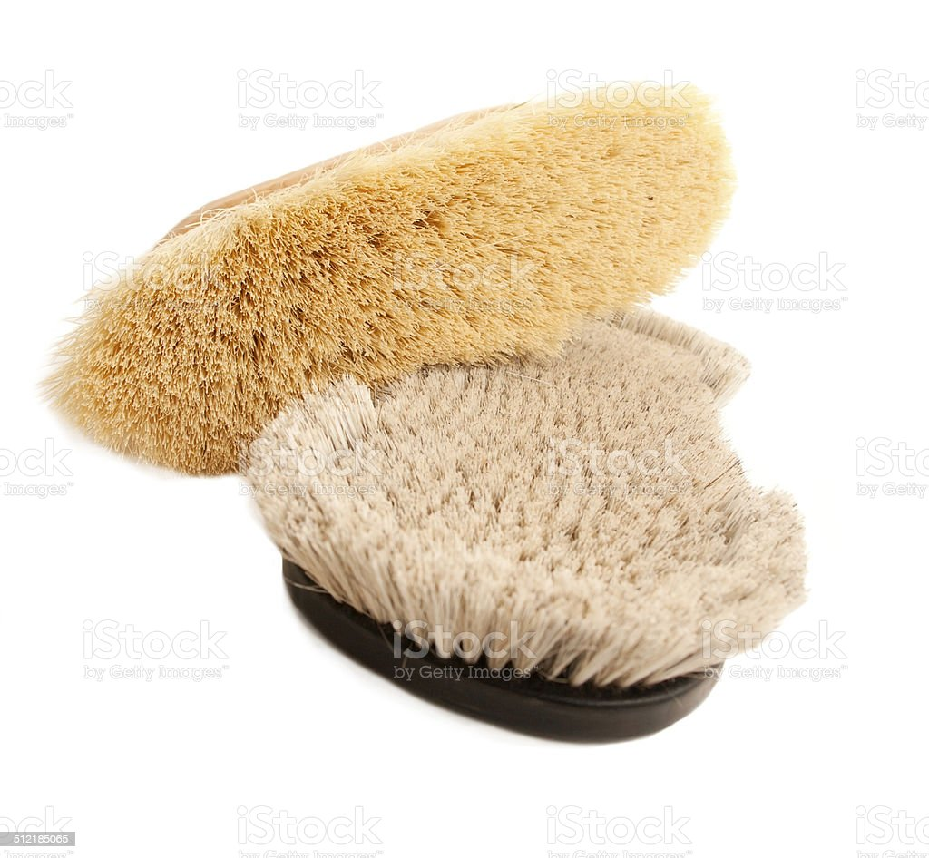 long and short natural bristles  brushes for groomung horse isolated stock photo