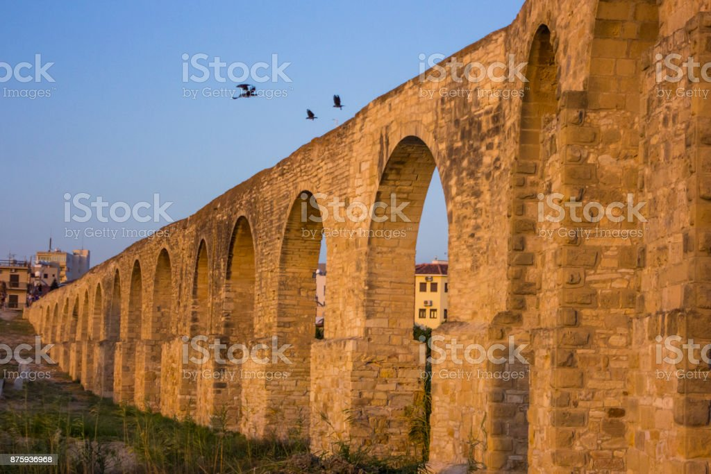 long aqueduct with arches stock photo