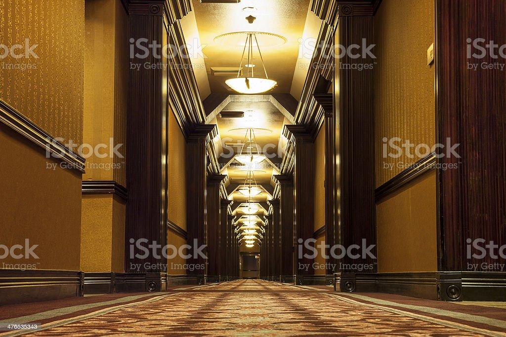Long Art Deco Corridor stock photo