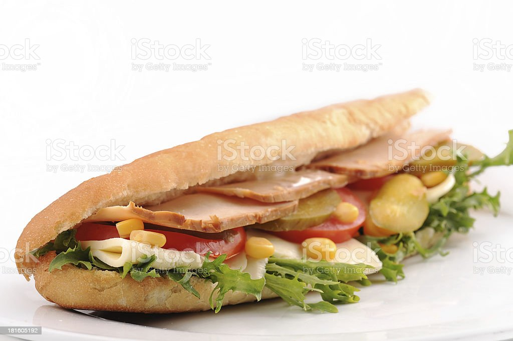 Long Baguette sandwich of turkey and cheese stock photo