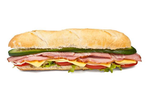 long baguette sandwich stock photo