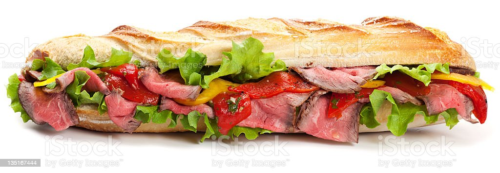 Long baguette sandwich royalty-free stock photo