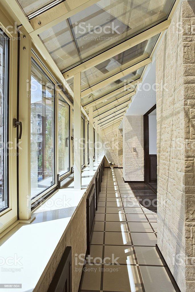 Long balcony (gallery) interior royalty-free stock photo