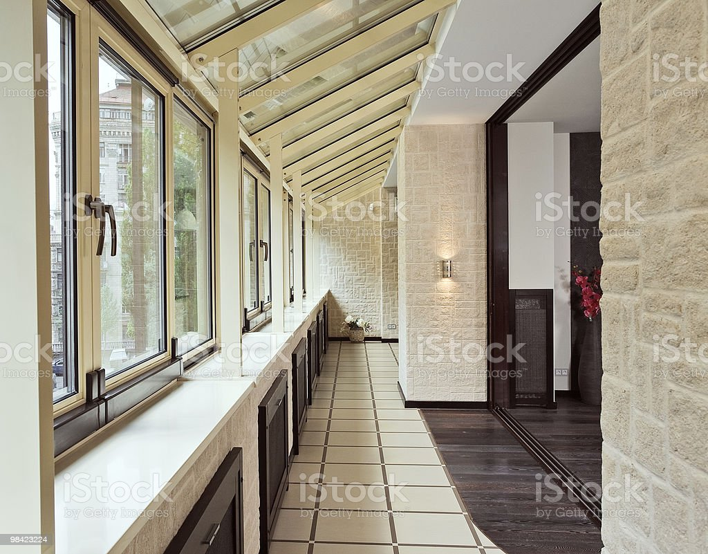 Long balcony (gallery) interior royalty-free stock photo
